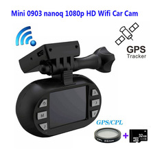 Free Shipping!!Original Mini 0903/nanoq 1080p HD Wifi 7G NT96655 IMX322 GPS Car DVR GPS Dash Camera+CPL Filter+32GB Card
