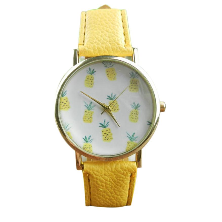 Watch Women Watches Pineapple Pattern PU Leather Dress Clock Analog Quartz Wrist Watch Relogio Feminino  цена