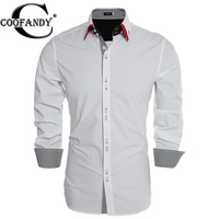 Coofandy Men Casual Shirt Fashion Slim Fit Dual Turn Down Collar Long Sleeve Solid Button Down