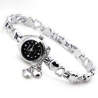 2016 New Women Bracelet Watch Fashion Inlaid Rhinestone Tassel Dress Quartz Clock Hollow Out Love Hearts