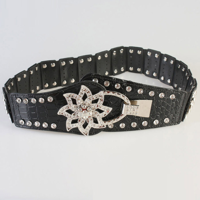 European hip belt black ladies fashion joker wide belt summer with long skirt belt diamond decoration Y184