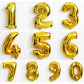 1PC Gold Number Balloons Aluminum Foil Helium Balloons Birthday Wedding Party Decoration Supplies For Olympic Counts 16 Inches
