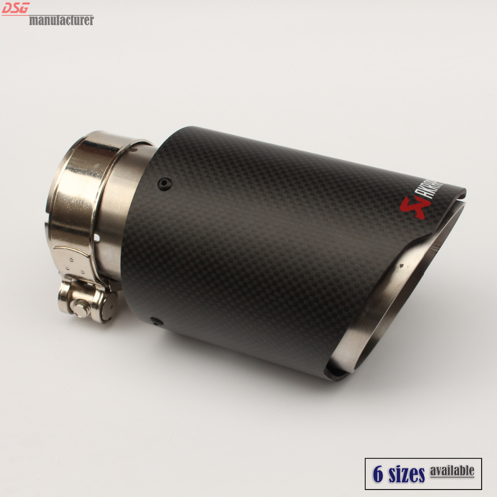 carbon fiber coated universal car exhaust tip stainless steel Akrapovic pipe exhaust matte black 63mm 101mm 54mm 89mm