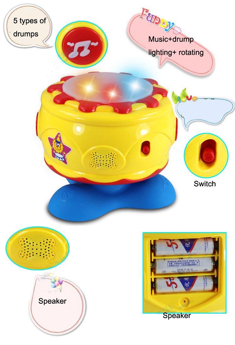 Вращающиеся барабанные фальшинг освещение музыка детский музыкальный инструмент плюстические игрушки