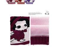 Рождественский бесплатная доставка зимние девушки одежда хлопок фиолетовый в полоску свитер с длинным рукавом детская верхняя одежда толстый свитер