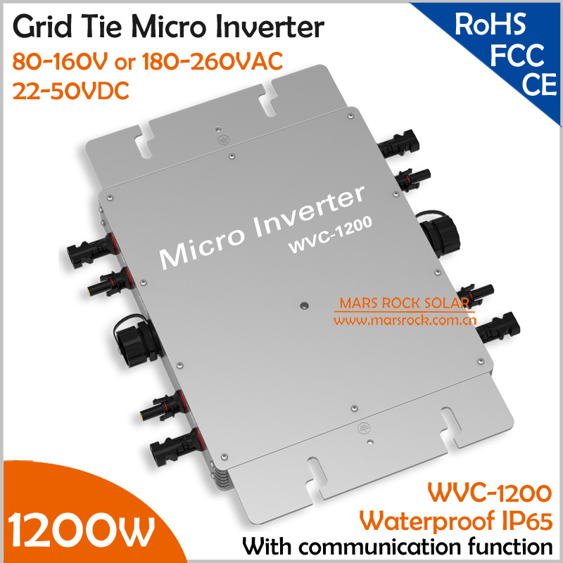 1200W 22-50VDC 110V or 220VAC waterproof grid tie micro inverter with communication matched 2 meters AC cable