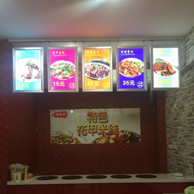Restaurant Indoor Hanging Aluminum Slim Snap Frame LED Edge-lit Menu Signage A2 Light Boxes