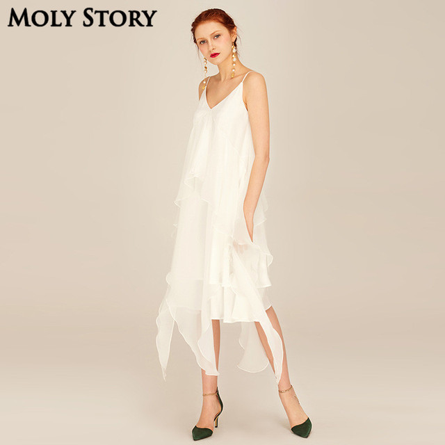 Spaghetti Strap White Dress
