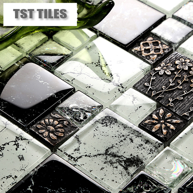 TST Mosaics Tiles Black And White Resin Floral Tile Kitchen Backsplash  Bathroom Wall Shower Glass Ice