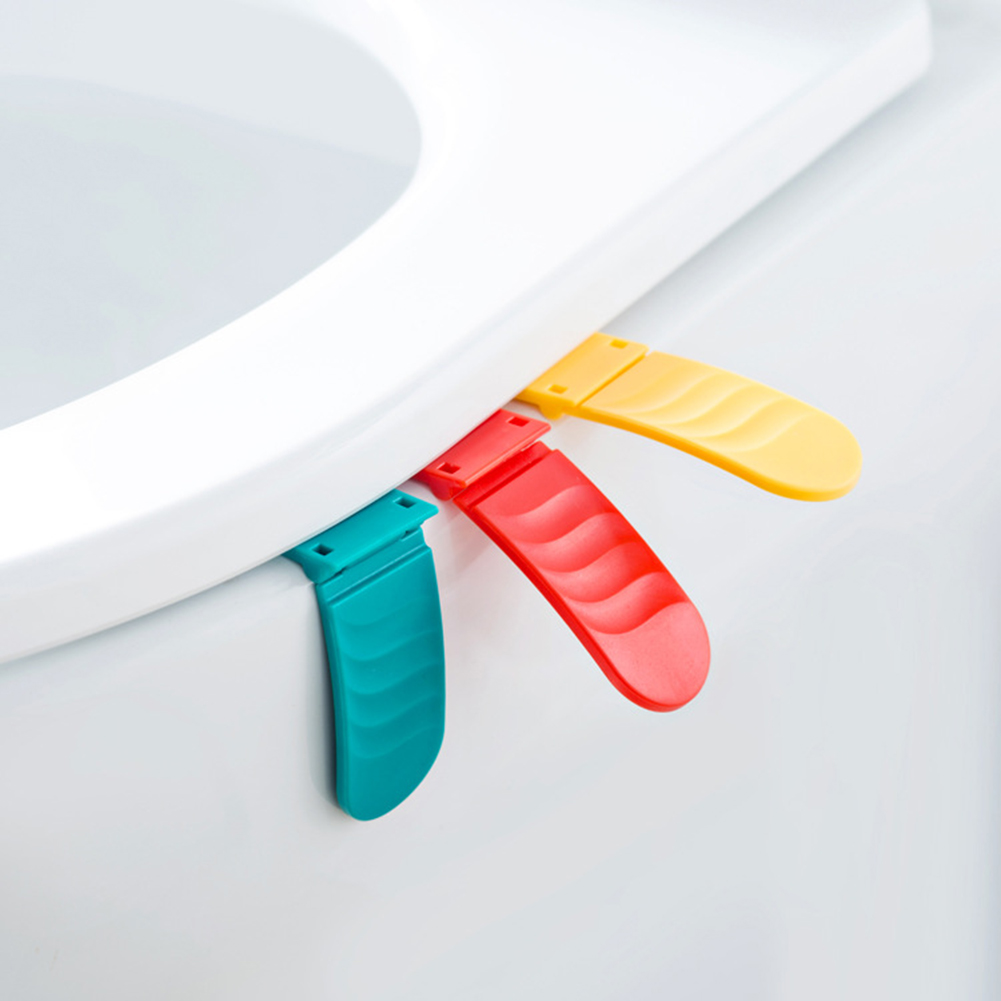 Bathroom Foldable Plastic Toilet Seat Cover Lid Lifter