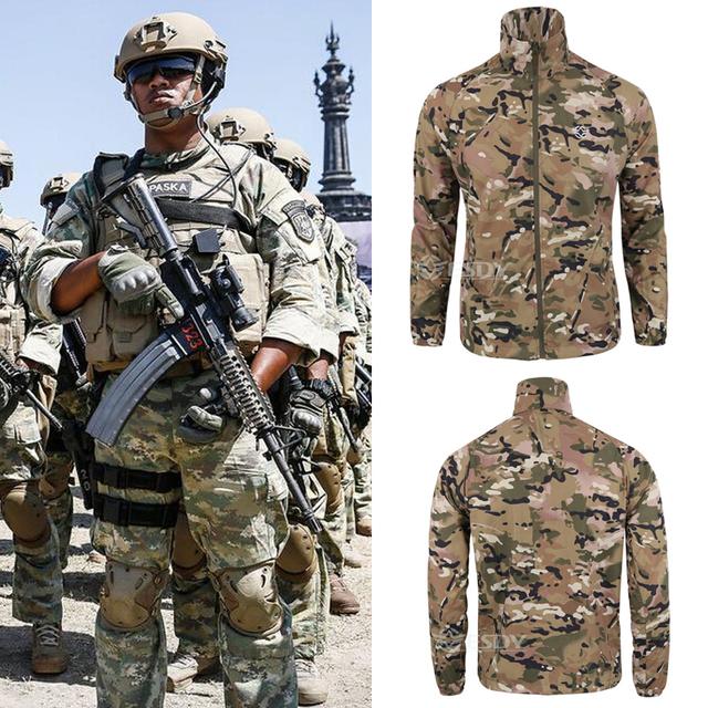 FÁCIL verão militar Tático-secagem rápida roupas ultra-fino respirável protetor solar à prova d' água ao ar livre roupas de combate camo Tops