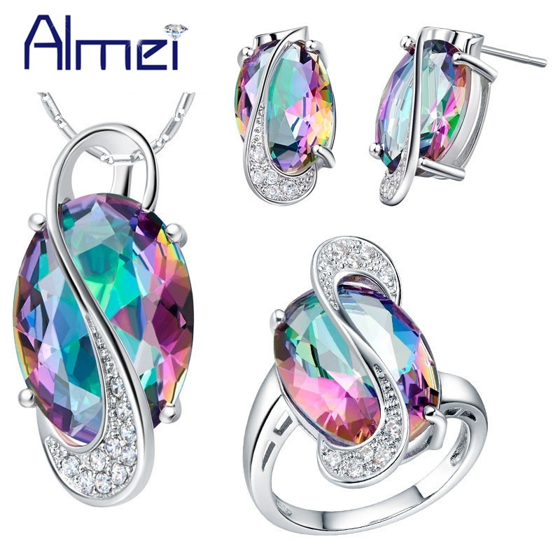 Almei 50% off Mode Pendant Earrings Cincin Kristal Warna Silver Bijoux Afrika Mystic Jewlery Set Kalung Pernikahan Set T472
