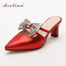 Meotina Designer Shoes Women Luxury 2017 Pointed Toe Ladies Sandals Bow Slippers Party Heels Rhinestone Sandals Slides Red Gold