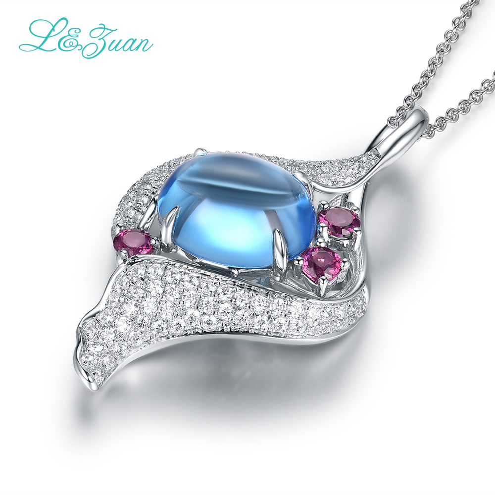 925 sterling silver natural Topaz Blue stone Pendant Jewelry with silver chain for woman wedding jewelry gift Fashion Necklace