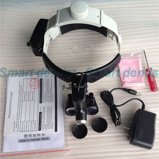 2016 3.5X Leather Headband Dental Surgical Loupe with Good light spot LED light ENT specific product no-distort