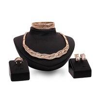 Luxury KC Hollow Rhinestone Lady Statement African Style Jewelry Set