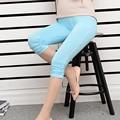 2016 Summer Mid Length Skinny Maternity Leggings Cotton Strech Adjustable Waist Elastic for Pregnant Women 4 Colors