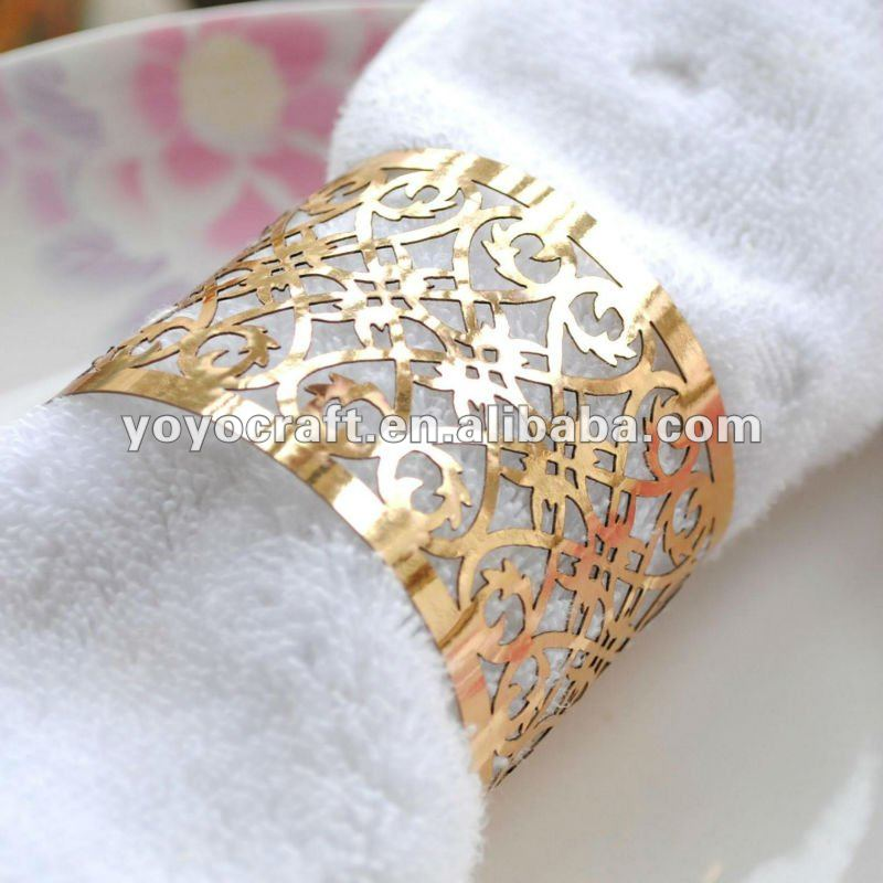 Personalized laser cut paper gold napkin rings wholesale wedding