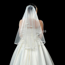 2017 In Stock Two Layers White / Ivory Bridal Veil with Comb Ribbon Edge Wedding Dress Accessaries Cheap