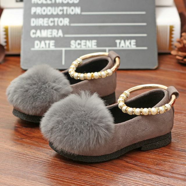 2016 Spring Shoes Princess Pearl Ring Shoes Girl Rabbit Hair Set Foot Doug Fashion Shoes Children's Shoes