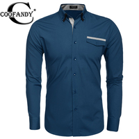 Coofandy Men Brand Shirt Slim Dual Turn Down Long Sleeve Solid Button Down Casual Shirts For