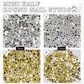 100 unids/lote mini Remaches Metálicos 3D Uñas Decoración Del Arte Posterior Plana del Medio Ronda Espárragos