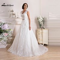 Elegant V Neck A Line Russia Lace Wedding Dresses Beaded Sweep Train Open Back Bridal Gowns