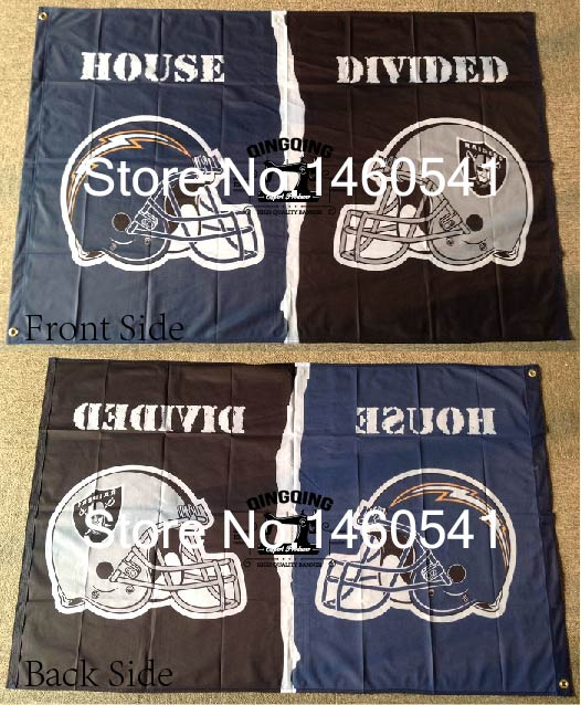 San Diego Chargers Banner: San Diego Chargers Oakland Raiders Helmet House Divided