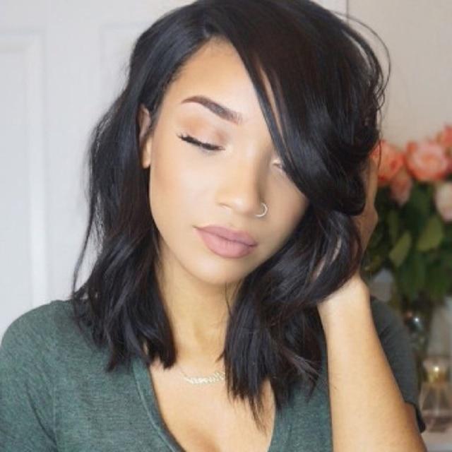Virgin Brazilian Human Hair Full Lace Wigs Short Wavy Bob