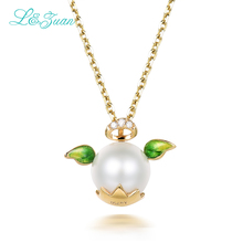 I zuan 18K gold pearl Pendants Necklaces For Womens 0 008ct diamond angel Fine Pearls Jewelry