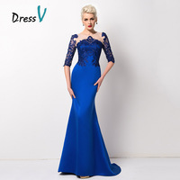 Trumpet Mermaid Evening Dresses 2015 Jewel Neck Appliques Lace Formal Gown Floor Length Matte Satin Vestido