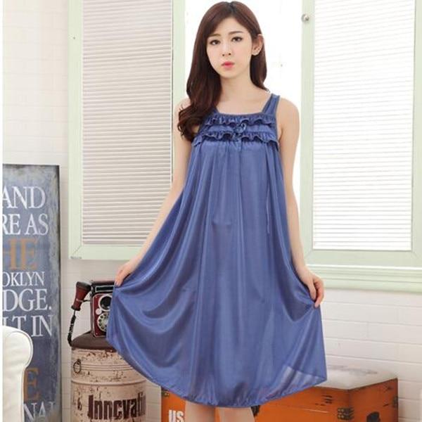 17270cb8704f Women silk sleepwear sexy nightwear long summer dresses home clothes  nightdress female nightgown dressing gowns for women S0047-in Nightgowns &  Sleepshirts ...