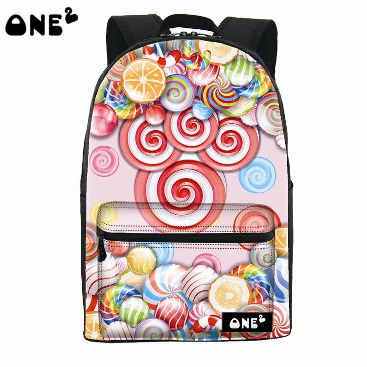 2016 ONE2 Design sweet candy pattern printing stylish waterproof backpack nylon lady cute school bag backpack