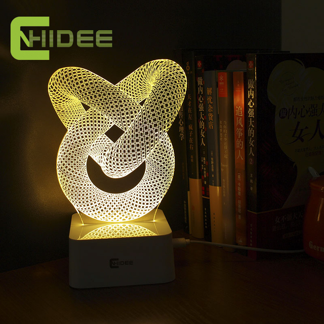 USB Novelty Gift Dimmable 3D Table Lamp Led Night Light Knot Lampara As  Home Decor BedRoom
