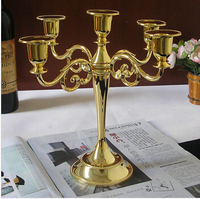 H27cm 3/ 5 arm gold candle holder retro candlestick gold candelabra for home deor chchristmas candle hodlers ZT031