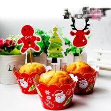 24pcs/lot  christmas tree Cupcake topper picks – Holiday Food Picks wedding birthday baby shower bunting,flag
