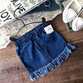 New 2017 spring summer girls solid tassel denim skirt