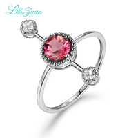 L&Zuan Diamond jewelry 14K Gold Tourmaline Ring For Women Simple Red Gemstone Fine Jewelry Party Gift Fashion Accessories 0005 3