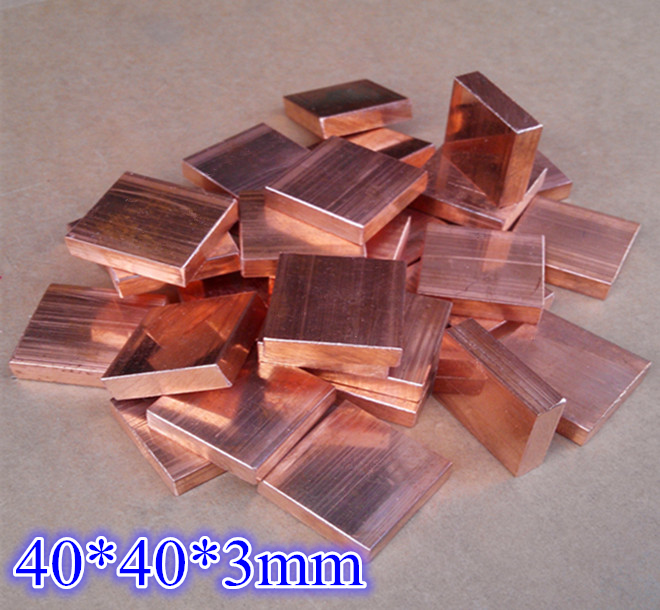 40x40x2mm 2pcs 40401mm//3mm//5mm Computer PC Laptop red Copper heatsink Heat Conduction Cooler Cooling Plate Block,Can Customized Size