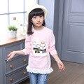 Suor meninas camisetas de manga longa roupas meninas Outono & Inverno roupa dos miúdos marca meninas roupas crianças personagem de desenho animado t-shir