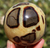 585g AAA++NATURAL Septarian Quartz Crystal Gem SPHERE BALL Stone +Stand