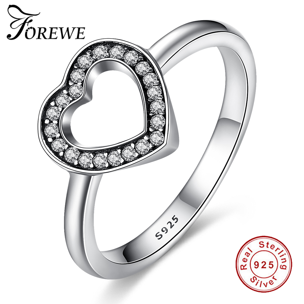Forewe 925 Real Silver Crystal Heart Rings With European Fit Original  Engagement Rings For Women Jewelry