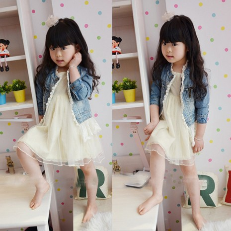 Girls Jean Jackets Kids Lace Coat Long Sleeve Button Denim Jackets For Girls 2-7Y 6