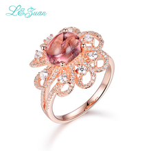 l&zuan Sterling Silver Ring Jewlery for Women 2.6ct Tourmaline Red Stone Rose Gold Rings for Woman Luxury Birthday Gift