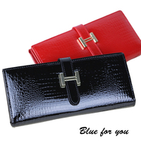 2015 Famous Brand Leather Wallets Woman Long Purse Clutch Sweet Floral Print Drew String Big Buckles