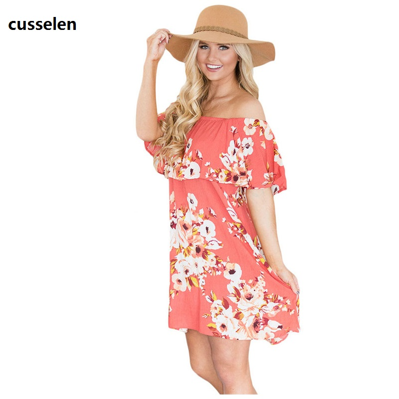 cusselen Boho Dresses 2017 Summer Women Beach Orange Ruffle Off Shoulder Print Floral Tunic Dress Loose Vestidos Mujer LC22958