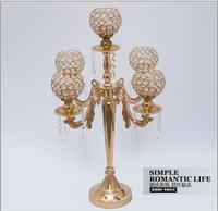 H65cm 5 light gold candle holders with crystal ball tall wedding candelabra wedding candlestick for wedding decoration ZT079