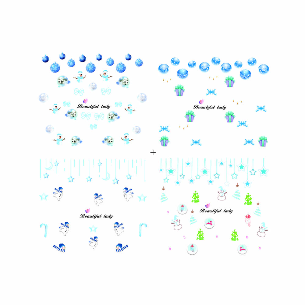 Popular luminous stickers Xmas Nail Art Water Decals Snowflake Snowman Illuminated Transfer Stickers