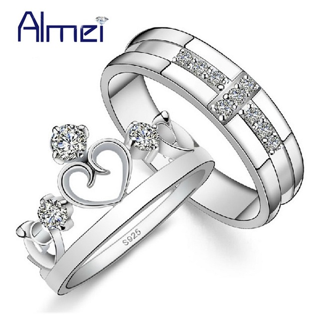 Couple Silver Rings CZ Zircon Lover Crown Ring Wedding Accessories Heart Anel Engagement Anillos 2016 Vintage Jewelry BagueJ412