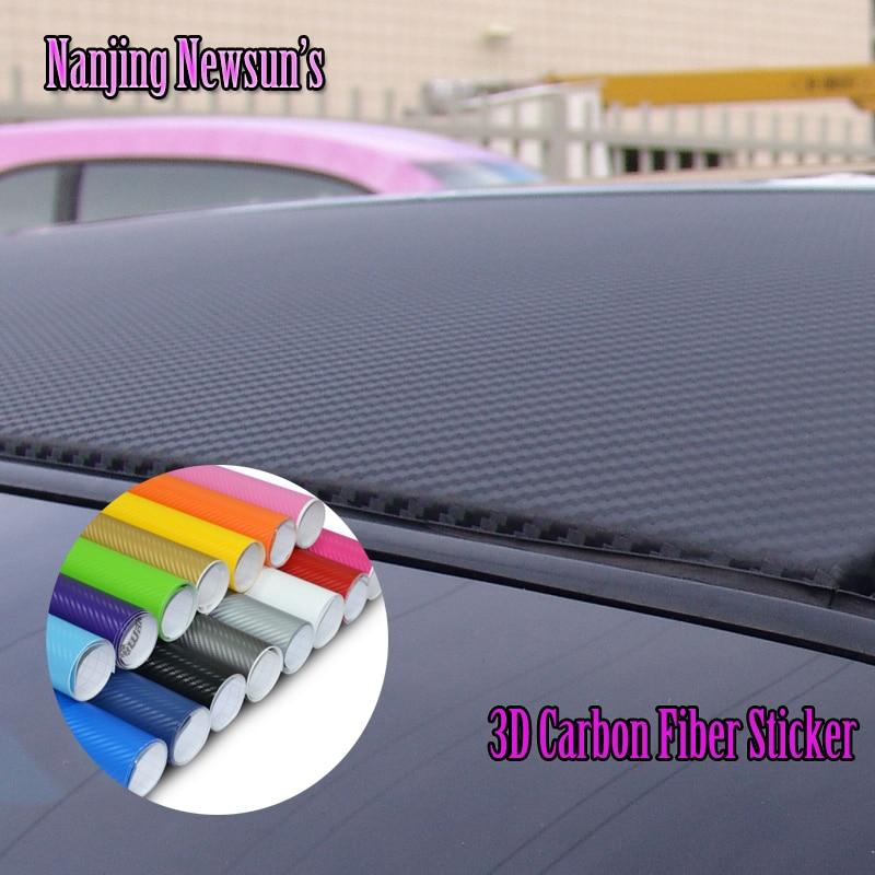 DIY Car-Styling 3D Carbon Fiber Vinyl Film Stick 153*30CM Decorative Paper Golden White Black Silver Auto Exterior Accessories